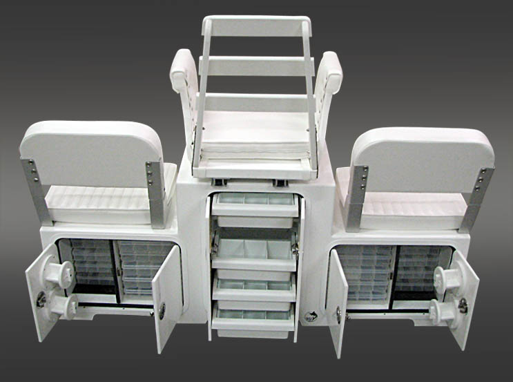 Custom Multi-Level Helm Chair Station with fiberglass tackle drawers, tackle boxes, planos and spool holders