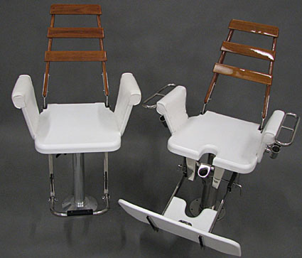 HC fighting chair and helm chairs with teak accent backs