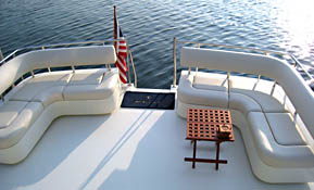 Pair of custom boat seats lounges with storage under cushions or optional tackle drawers, tackles boxes, ice chest or livewell